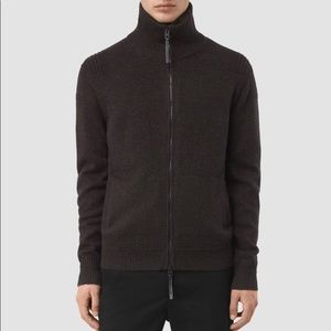 All saints Brown maven zip through sweater m